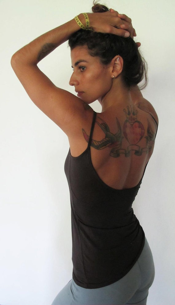 Simple yoga tank with low back. Yoga clothes - dance - fitness wear. Warm charcoal, size SM and ML