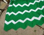 Chevron Green - Afghan - Blanket - Throw - Mid Century Modern - Kitch - Color Blocked
