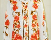 Coming Up Roses - Mid Century Modern - Op Art Blouse - By Puccini