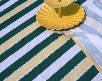 Barkcloth Bedding - Striped Coverlet Bedspread - Yellow Green Striped Coverlet or Bedspread - Cottage - Cozy - Chic - Closest to Twin Size