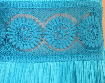 Mexican Pintucked Mini Dress - Turquoise Blue Mexican Dress - 1970's Short Mexican Dress - Wide Lace - Casual Mexican Dress - 38 Bust