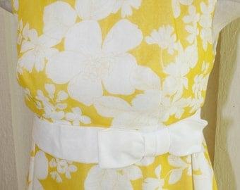 1960s Vintage Formal - Mod Maxi Dress - Baby Doll Maxi - Yellow Floral Maxi - Sheer Organza - Vintage Bridesmaid - Summer Maxi - 32 33 Bust