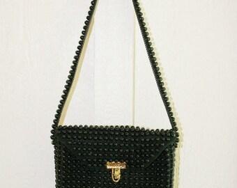 Black Beaded Purse Shoulder Bag - 1960s Purse - 1970s Beaded Purse - Fun Quirky Mod Unique- Black Purse - Box Bag - Little Shoulder Purse