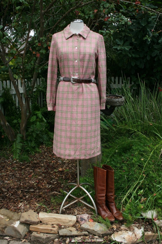 Polished Pendleton - 1960's Wool Shirt Dress in Pink, Brown and Green Plaid