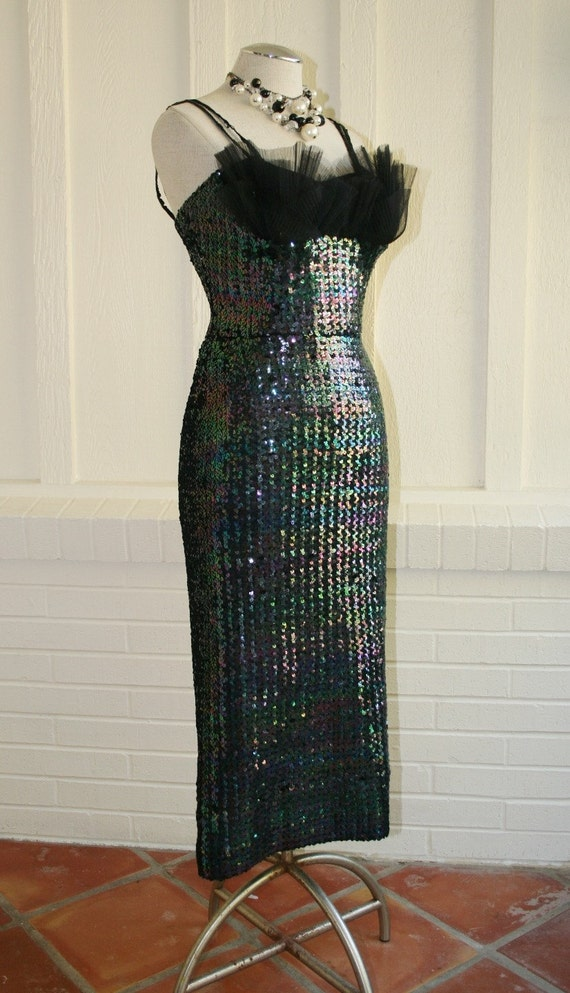 Boom Chica Boom - 1950's Pinup Sequined Wiggle dress With Clamshell Bust