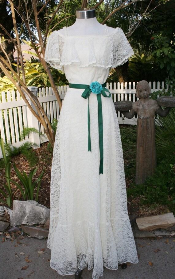 Small Town Backyard Wedding Circa 70s Wedding Dress