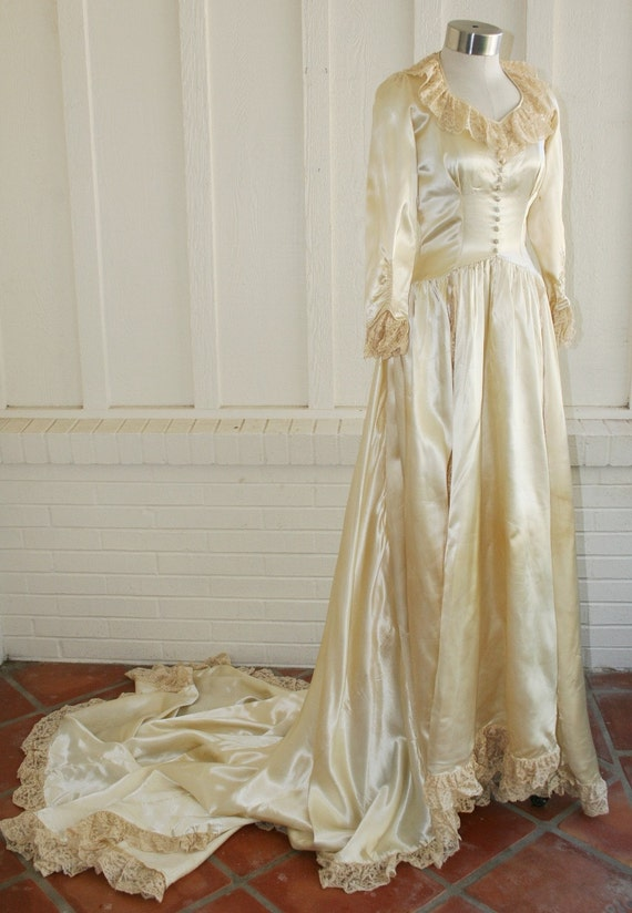HOLD for Mel - The Roosevelt Bride - Beautiful Satin 1920's Liquid Satin Wedding Gown
