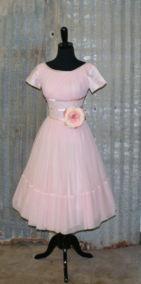 Tickled Pink....Circa 1960's Pale Pink Party Dress...Bridesmaid, Prom, Wedding