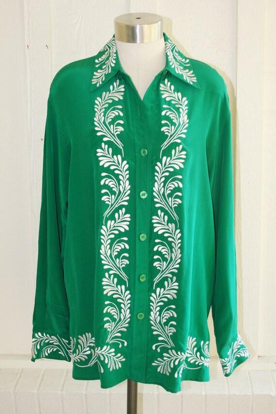 Queen of Green - Diane Von Furstenberg - Silk Embroidered Blouse