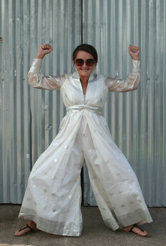 Fashion Ninja...Kick Ass Cocktail Attire...White and Silver Metallic Jumpsuit with Glitzy Rhinestone Accents
