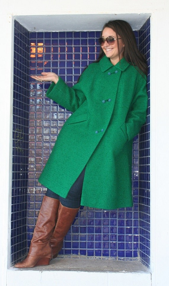 Outside the Black Box Kelly Green Wool Coat with