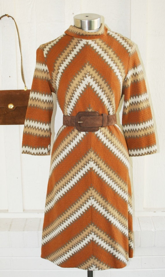 Prime Time - Brown Knit - Op Art - Stripe - Mod - Day Dress - by Nancy Greer