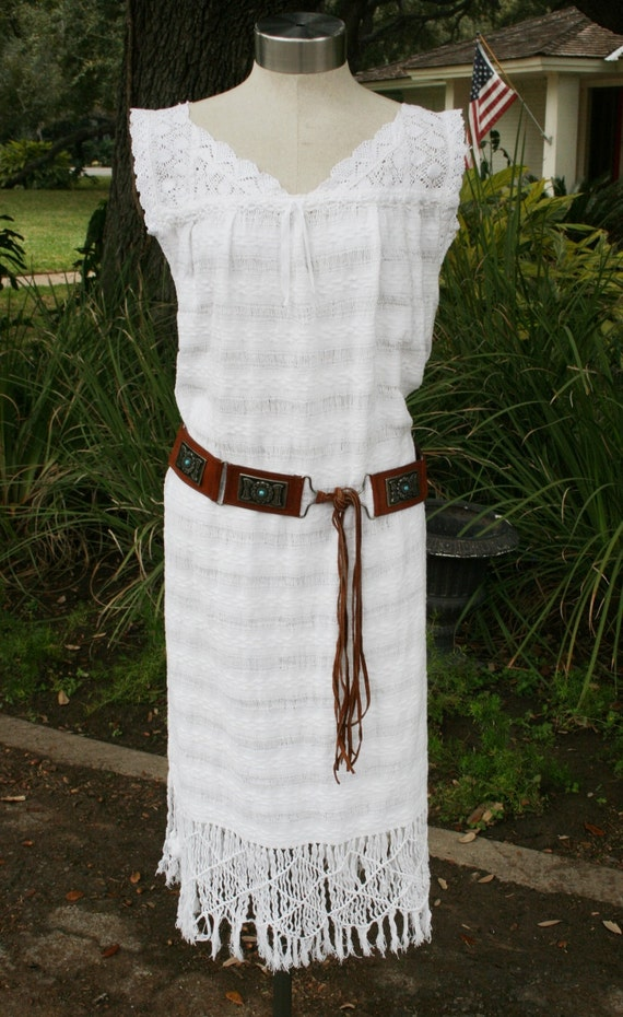 Hold for Robin until 6-6-12  - Bohoemian Chic - Cotton Fringed - Cover-up  - Hippie - Dress