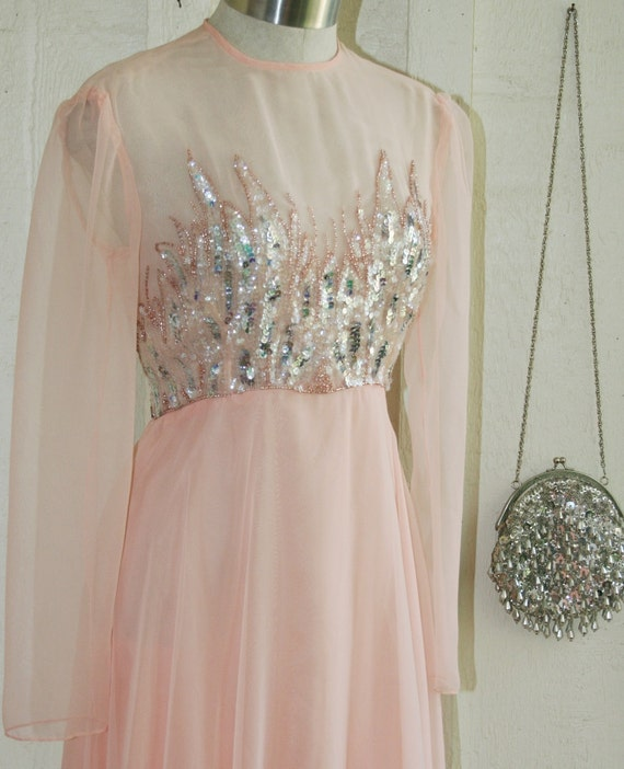 Become Your Dream- Circa 1970s - Sequined and Beaded - Chiffon Gown - Wedding - Pageant - Prom