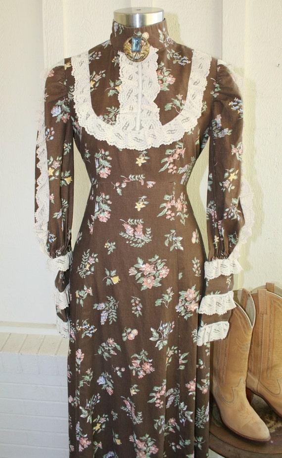 Better Than Buttered Biscuits - Brown Prairie Girl Dress - Hippie - Bohemian - - Steampunk - Victorian - Circa 1970s