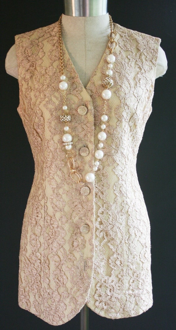 Frosting on the Cake - Long Waisted - Lace Vest - Wedding - Circa 1980s - by Donna Ricco - HOLD