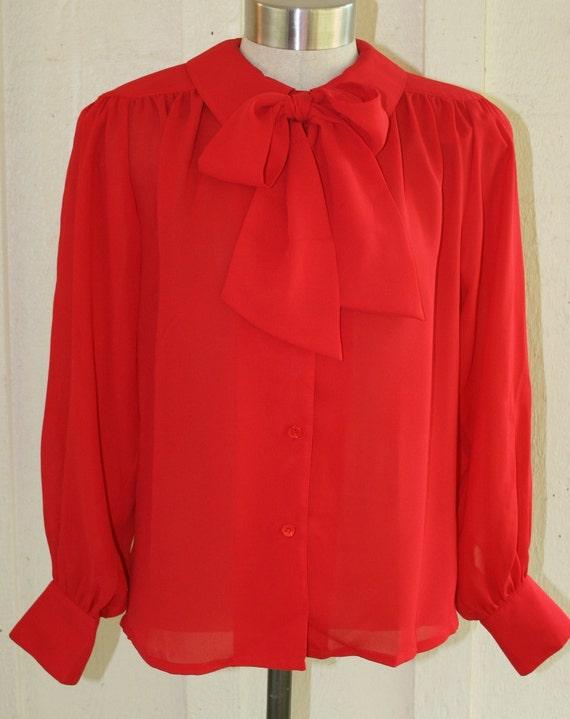 Circa 1970-80's - Secretary Blouse - Bishop sleeves - Bow Tie