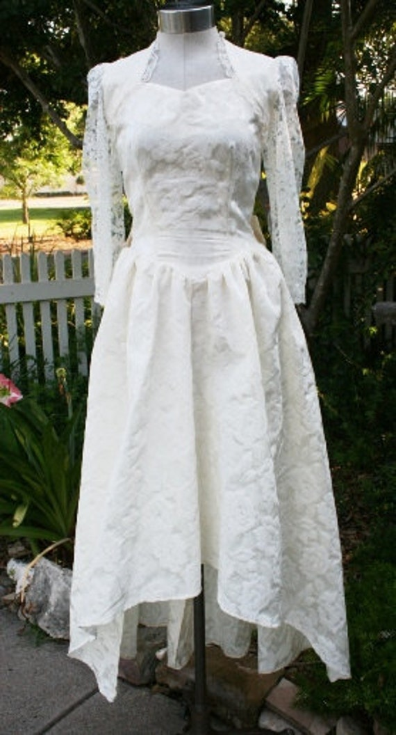 Shotgun Bride - High-Low Hemline - Wedding Dress - Damask - Circa 1970-80s