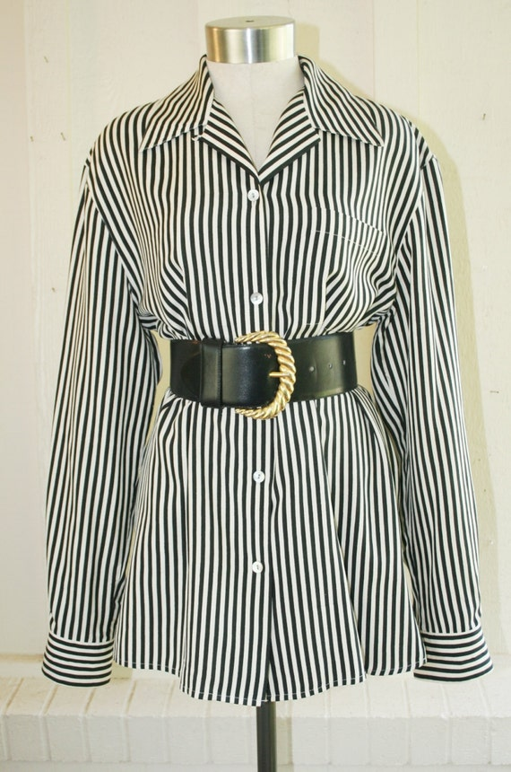 So Overt its Covert  - Lord & Taylor Silk Blouse - Black and White Striped Top -