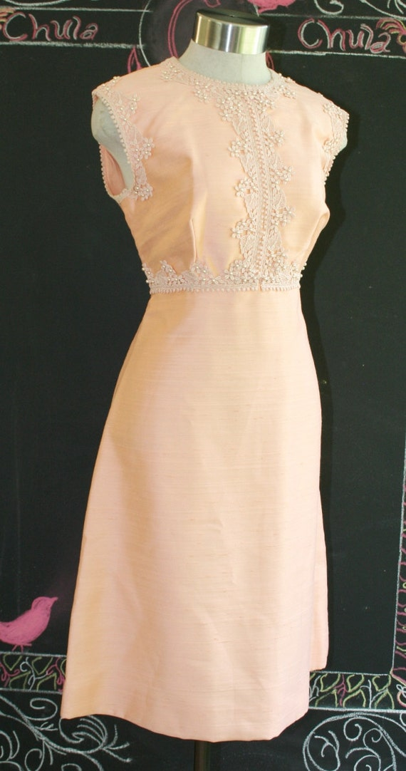 Been Known to Drink and Dial - Circa 1970's - Peach Beaded Cocktail Sheath with Sheer Cover Up - Wedding -  Bridesmaid
