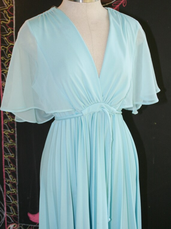 Wire Tapped - Polyester Perma Pleat  - Empire Waist - Chiffon Butterfly Sleeve - Circa 1970s