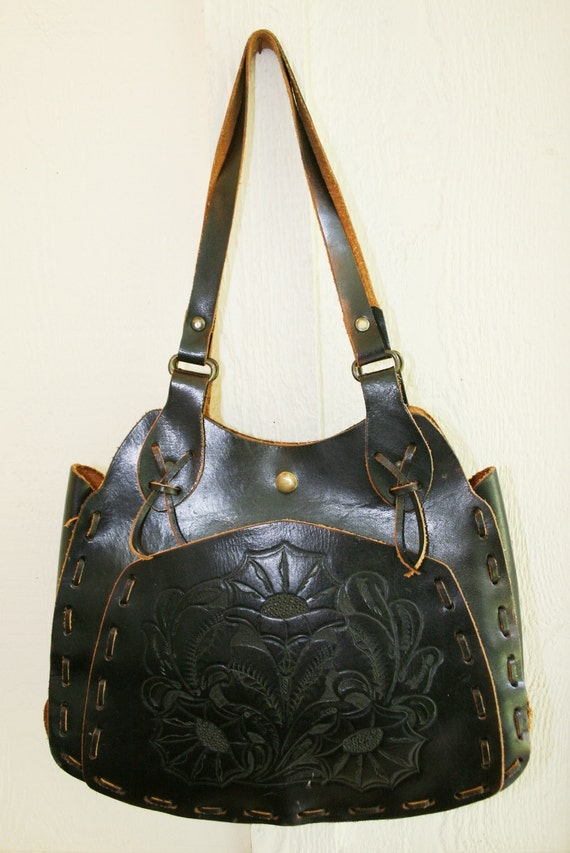 Hippie Girl - Dark Leather - Embossed Leather - Bohemian - Rockabilly