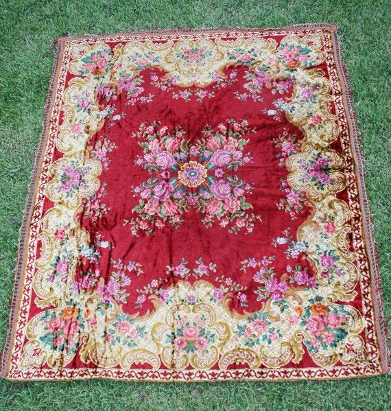 Gypsy Rose - Bohemian - Chenille - Velvet - Beadspread - Tapestry - Shabby Chic
