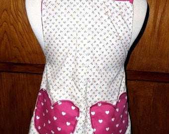 Apron Reversible just cooking pink hearts and flower