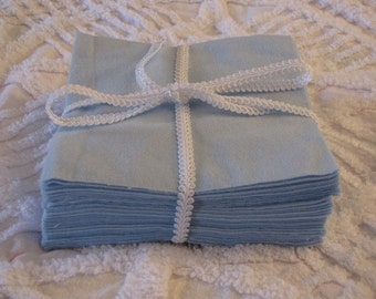 Set of 36 6 inch Flannel Squares in Blue for Quilts or Crafts