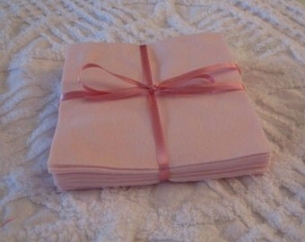 Set of 24 Pink Flannel Rotary Cut Squares 6 inch for Quilts and Crafts