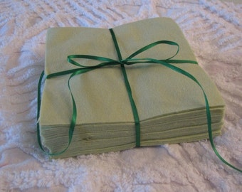 Set of 36 Light Green Flannel Rotary Cut squares for Quilts of Crafts