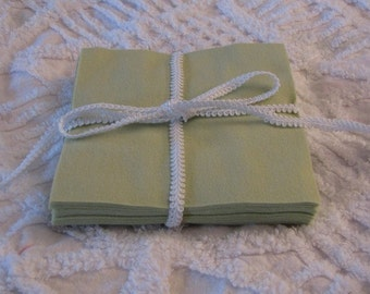 Set of 24 Light Green 6 inch Rotary Cut Squares for Quilts and Crafts