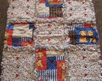 Puppy Lovey Rag Quilt for Baby in Blues & Browns