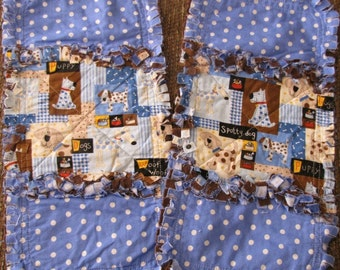 Rag Quilt Burp Cloths with Puppies & Polka Dots