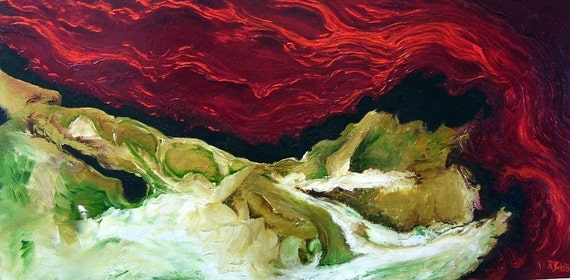 VULCANOLOGY- original abstract oil painting on canvas 36x18 inches