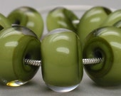 Pea Green encased with clear - 10 handmade lampwork beads