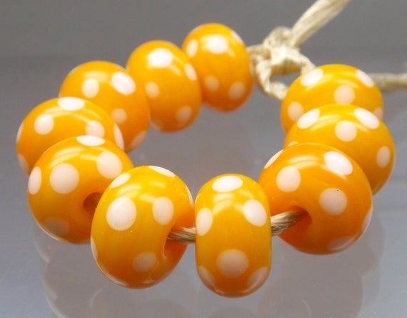 Yellow with White Polka Dots - 10 handmade lampwork beads P 5
