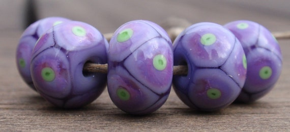 Violet with violet and green Polka  Dots - 5 handmade lampwork beads