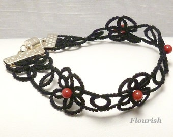Tatted Lace Flower Bracelet  -Flourish MTO with your color choice