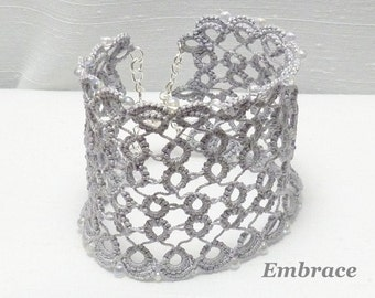 Large Tatted Lace Cuff in silver gray with glass accents - Embrace