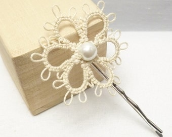 Tatted Sterling Daisy Bobby Pin in your color with large pearl MTO