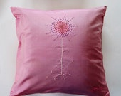 Jim Thompson Silk Cushion Cover- Embroidered with Shasta Daisy