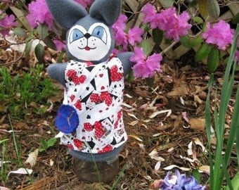 Alice in Wonderland's Rabbit Hand Puppet/ White Rabbit/Bunny Puppet/ Easter Bunny Puppet