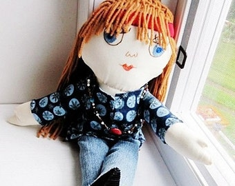 Hippie Doll- Custom Made Rag Doll -  Human Figure Doll -Judy Blue Eyes