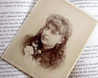 Victorian Young Lady in Veil 1885 Vintage Photo-
