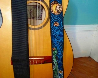 Custom Starry Night-  Van Gogh Hand Embroidered Guitar Strap/Fine Art Music Strap/Guitar