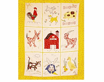Custom Baby Quilt-Old MacDonald Farm- Personalized- Applique and Embroidery