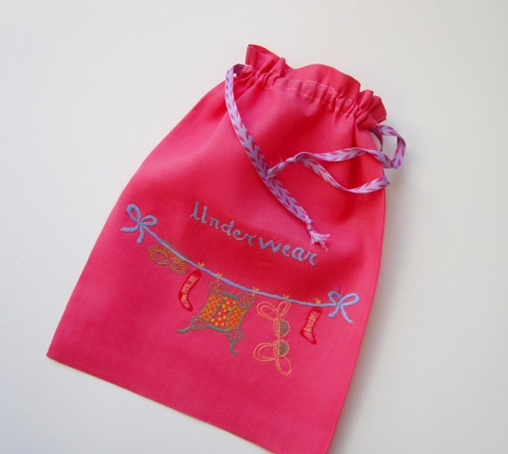Lingerie Laundry Bag - Drawstring- Hand Embroidered with Underwear