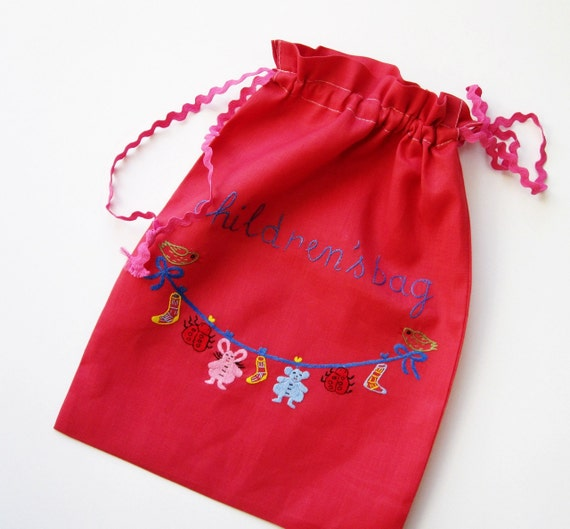 Children's Organizer Laundry Bag- Hand Embroidered