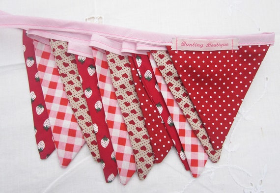 Small Classic Bunting. Colours - Reds and Pinks.  Fabric Patterns -Spots, Gingham, Hearts and Strawberries.